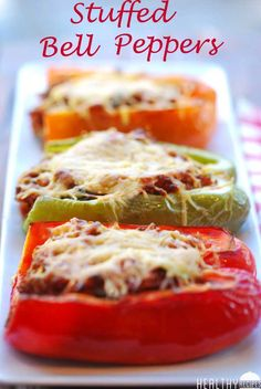 Substitute beef for chicken and used almond cheese... Sooo good!!! Stuffed Bell Peppers | Healthy Recipes Blog