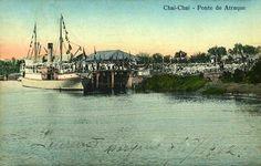 O Cais de atraque do Xai-Xai, anos 1910. Obviamente neste postal retrata-se uma ocasião importante, que não é descrita.