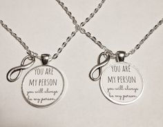 2 Necklaces Infinity You Are My Person You're Saying Quote Best Friend Couple'S | eBay