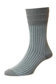 Jester men's elastic free soft-top crew socks in grey | Made by HJ Hall