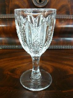 "EAPG DUNCAN MILLER ""MARDI GRAS"" (42) or ""Stars & Stripes"" CORDIAL GLASS 3 1/4"""
