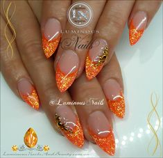 Luminous Nails: Glittery Neon Orange Nails...