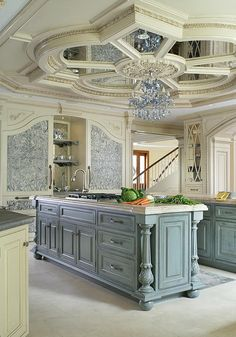 """Peter Salerno, Inc. Portfolio A Touch of Elegance 2nd Place Winner - Large Kitchen by the NKBA 2015  A traditional kitchen with some """"glitz & glam"""" featuring one of our custom reclaimed tin hoods, refrigerator panels, antiqued mirror ceiling, a La Cornue CornuFe 110, and a TopBrewer.  Fun Fact: This was the first kitchen in the US to feature a TopBrewer!"""
