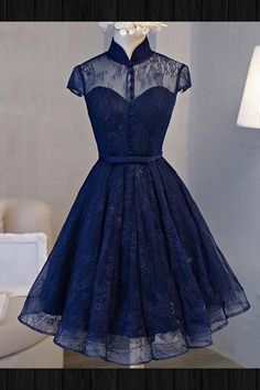 Short Homecoming Dresses #ShortHomecomingDresses, Homecoming Dresses Lace #HomecomingDressesLace, Navy Blue Prom Dresses #NavyBluePromDresses, Lace Prom Dresses #LacePromDresses, Prom Dresses Short #PromDressesShort