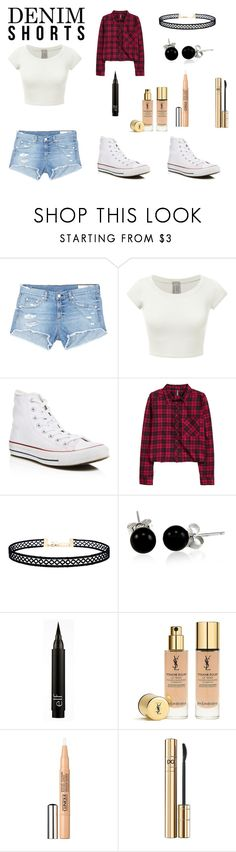 """""""A Day at Six Flags"""" by kyndaldance-1 ❤ liked on Polyvore featuring rag & bone/JEAN, Converse, H&M, LULUS, Bling Jewelry, Yves Saint Laurent, Clinique, D&G, Summer and jeanshorts"""