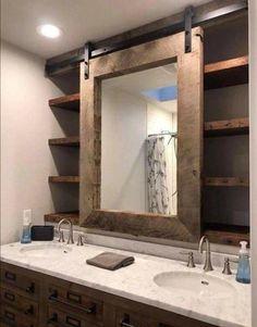 Farmhouse bathroom decor barn door mirror and shelves