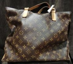 Louis Vuitton Brown Monogram Cabas Alto XL Tote - Canvas with rolled cowhide straps. Extra large Tote. Discontinued. Like the one Angelina Jolie carries!     $795.00