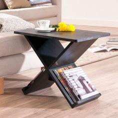 Furniture of America Cross Design Magazine End Table - Midnight Black