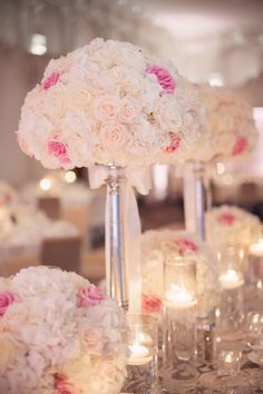 Rose and Hydrangea Reception Centerpieces | photography by http://melissagidneyphoto.com