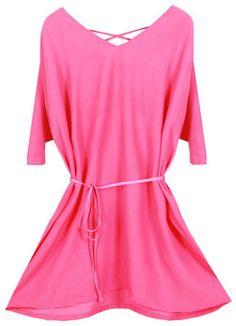 V-neck Backless Thin Waistband Rose Dress [NCSKF0236] - $50.99 Romwe.com