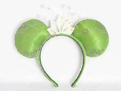 Tiana Minnie Mouse Ears Headband Green Sparkle Fabric w/ Matching Headband Trim & Glitter Lily Crown Magic Kingdom The Princess and the Frog
