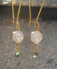 Vintage White Opal Moonstones and Swarovski Crystal Gold Dangle Earrings #fashion #jewelry #apparel #etsy $22.00