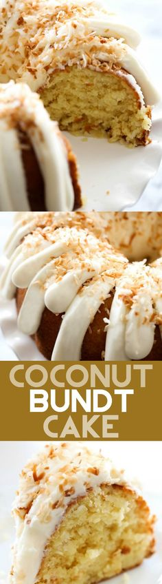 Coconut Bundt Cake - This is an incredibly moist cake loaded with coconut flavor! The cream cheese frosting on top is the perfect pairing. This cake with be loved by all who try it!