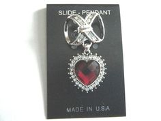 Silver Scarf Ring Slider Pendant Heart Red & Clear Stones New Made In USA