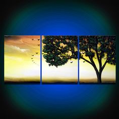tree painting bird folk shabby chic silhouette tree painting original painting landscape 14 x 33 Mattsart