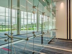 cable truss glass facade - Google Search Glass Balustrade, Glass Facades, Geodesic Dome, Wall Anchors, Wall Fixtures, Stainless Steel Wire, Grand Designs, Steel Structure, Stunning View