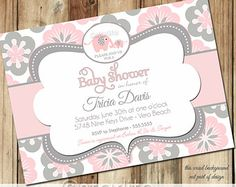 Girl Baby Shower Elephant Baby Shower Invitation Pink by starwedd