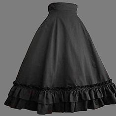 Tea-length Black Cotton Classic Lolita Skirt – USD $ 63.99