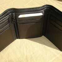 men's billfolds with zipper | Men Black Leather Tri Fold Wallet 9 Card Slot Coin Zipper Pocket 3 ...