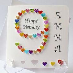 birthday card - handmade age 9 card - handmade card for boys or girls - Karten Kinder - Birthday Card Sayings, Girl Birthday Cards, Handmade Birthday Cards, 9th Birthday, Children Birthday Cards, Rainbow Birthday, Baby Cards, Kids Cards, Tarjetas Diy