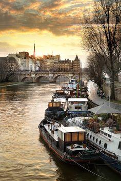 Barges on the Seine, Paris, France