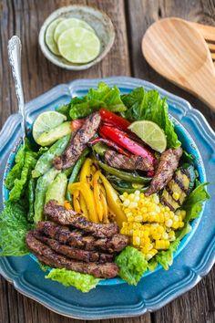 Asian Sesame Lime Steak Fajita Salad makes the perfect healthy dinner!