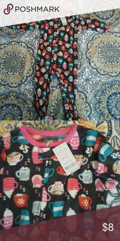 Carters sz 3T hot cocoa themed fleece sleeper NEW Brand new with tags Carter's Pajamas Pajama Sets