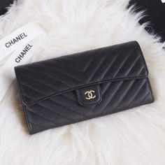 Chanel A80758-14 Chevron Long Flap Wallet