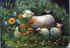 Raija Nokkala ~ very cute sheep House Illustration, Illustrations, Sheep Art, Tove Jansson, Cute Sheep, Sheep And Lamb, Lord Is My Shepherd, Little Critter, Naive Art