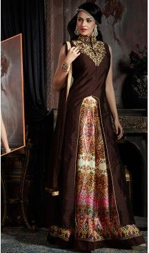 Chocolate Color Silk Party Wear Gowns | FH489675194 #gowns , #designer , #womens , #wedding , #evening , #party , @heenastyle , #readymade , #online , #fashion , #boutique , #silk , #dress , #indian , #shopping , #ceremony , #heenastyle , #ladies , #wear , #reception , #highfashion , #eveninggowns , #stone