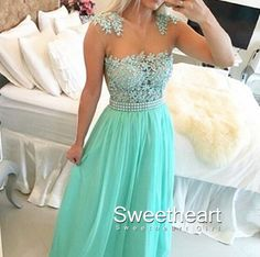 Green A-line round neckline Lace Chiffon Long Prom Dresses, Formal Dress #coniefox #2016prom