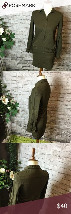 Lacoste army green khaki pique shirt dress Long shirt dress, original Lacoste style.  Size Eu 32, Us S.  Make a reasonable offer and I'll either counter, accept or decline. No trades.  Please check out the rest of my closet, I have various brands. Lacoste Dresses Midi