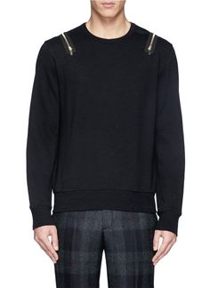 ALEXANDER MCQUEEN - Zip shoulder sweatshirt | Black Pullovers Pullovers & Hoodies | Menswear | Lane Crawford