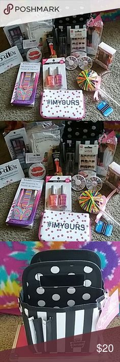 15piece make up bundle ♡♡♡ This bundle comes with everything you see here all 15 pieces Kaboodle carrying case included. We have everything here from press on nails to dark circle and puffeth serum lip gloss hair ties nail decals a nail grooming kit a compact mirror cosmetic sponge wedges eyeshadow makeup brushes and a cute I'm Yours makeup bag the nail polish shown in the middle of the orange and purple actually glows in the dark if you have any questions about this photo please let me know…