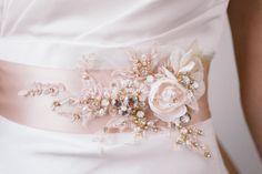 Beaded Rhinestone Bridal Sash Champagne by abigailgracebridal Wedding Belts, Bling Wedding, Crystal Wedding, Rhinestone Wedding, Bridal Sash, Bridal Dresses, Embellished Dress, Embroidered Lace, Lace Applique