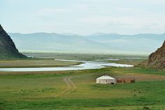 Orkhon Valley in Mongolia - home to the Genghis Khan Polo & Riding Club and venue for the Shanghai Tang Polo Cup, with players traveling from all parts of the globe to compete. Mongolia, Yurt Living, Polo Grounds, Landscape Photos, Fields, Tourism, Beautiful Places, Around The Worlds, Genghis Khan