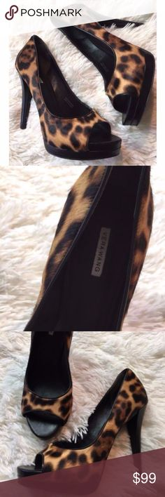 Vera Wang NEW Cheetah Peep Toe Pumps 7.5 New Heel Height is 5 inches Genuine leather and fur Vera Wang Shoes Heels