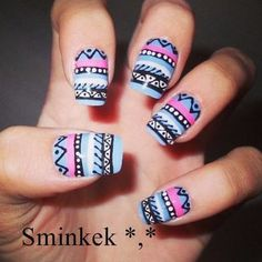 Beautiful nails 3 #nailart #manicure #nails #bluenails #tribalnails #prettynails - bellashoot.com