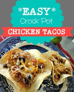 Easy Crockpot Chicken Tacos recipe.  These easy crockpot chicken tacos grace our table often because they're SUPER easy and the whole family is overjoyed every time.   It's also a super frugal meal with low-cost ingredients.