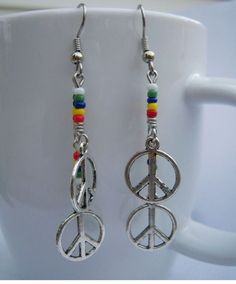 Peaceful Rainbow Earrings Handcrafted Dangly Silver Tone Charms Seed Beads #MDHcrafts #Dangle