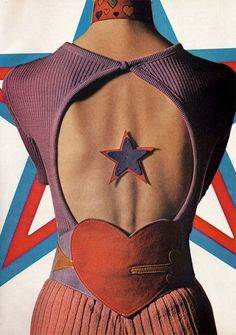 Harper's Bazaar' magazine, April 1971. Top by Match II, choker by Elyse Stone, star by Elegant and Simon Creations belt. Photogr...