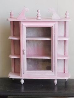 Shabby Chic Curio Cabinet Pink And White Wall Hanging Or Tabletop