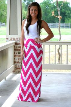 Pink and White Chevron Maxi Skirt