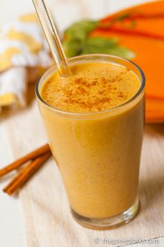⅓ cup pumpkin purée     6 to 8 dates or 1 frozen banana     1 tablespoon almond butter     ¾ teaspoon pumpkin pie spice     ¼ teaspoon vanilla extract     ¾ cup almond milk (or other non-dairy milk)     ½ cup ice (preferably made from coconut water)     additional sweetener,