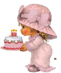 Annie Peaker, Artist, figures with fish & bananas, Tall Birthday Clipart, Birthday Cards, Happy Birthday, Sarah Kay, Cute Images, Cute Pictures, Cute Kids Pics, Holly Hobbie, Vintage Birthday