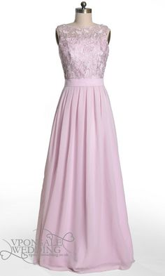 Lilac Lace Floor Length Bridesmaid Dress DVW0001 | VPonsale Wedding Custom Dresses