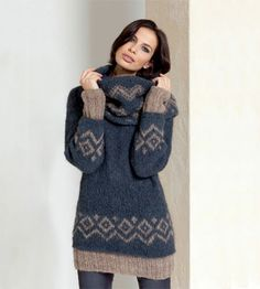 Laines Lang Yarns, Katia, Anny Blatt, Bouton d'Or, Lanas Stop Knitting Paterns, Knit Patterns, Hand Knitting, Mode Crochet, Knit Crochet, Knit Cardigan, Knit Dress, Oversize Look, Pull Jacquard