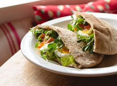 Smoked Salmon and Pea Shoot Wraps - smoked salmon, boiled eggs, greens and whole wheat pitas. Just like we make them here on the West Coast! canuckcuisine.com