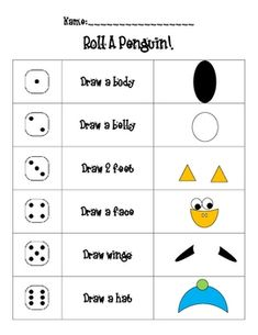 Students roll a dice to build a cute little penguin.  By doing this activity,the students are practicing number recognition, counting and fine moto...