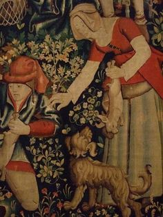 Rabbit Hunting with Ferrets Tapestry Franco-Flemish probably Tournai-detail, 1450 70